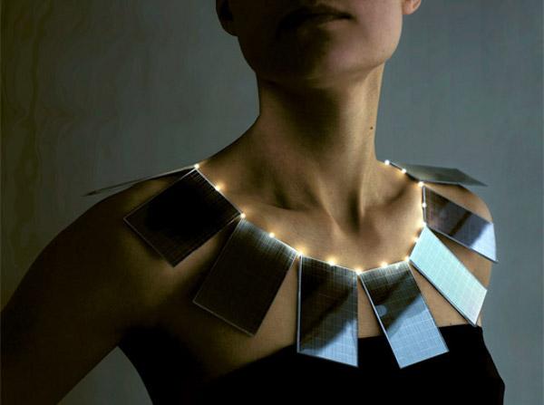 solar power necklace by mae yokoyama 2 Solar Panel Necklace by Mae Yokoyama