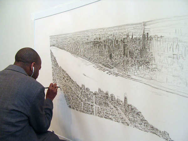 stephen wilshire manhattan skyline 1 Autistic Artist Draws the Manhattan Skyline from Memory