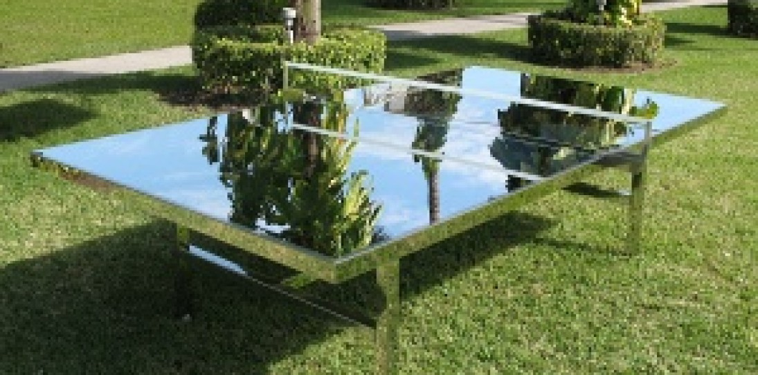Chrome Ping Pong Table by Rirkrit Tiravanija