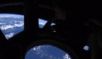 The view from inside the International Space Station.