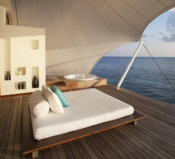 maldives W-Retreat-and-Spa-in-Maldives-outdoor-bed-on-wooden-deck 6