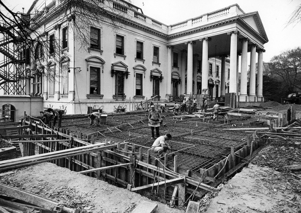 white house fully gutted under construction vintage photographs 11