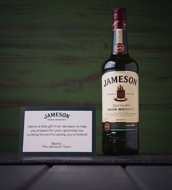 Jameson Welcome Pack Bottle with Welcome 600x663 Discovering the Irish Origin of the Jameson Story