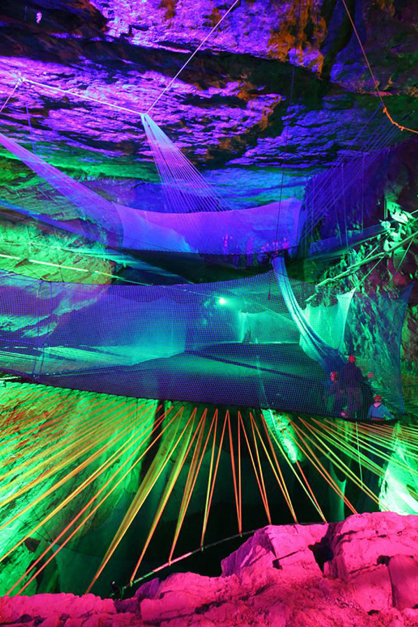 Welsh Cave Trampoline 3 600x900 Cave Trampoline Takes High Excitement Deep Underground