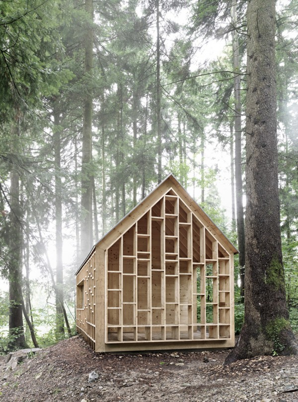 house for forest owls by Bernd Riegger 5 600x810 Forest Cabin by Bernd Riegger Offers Sanctuary in the Wild