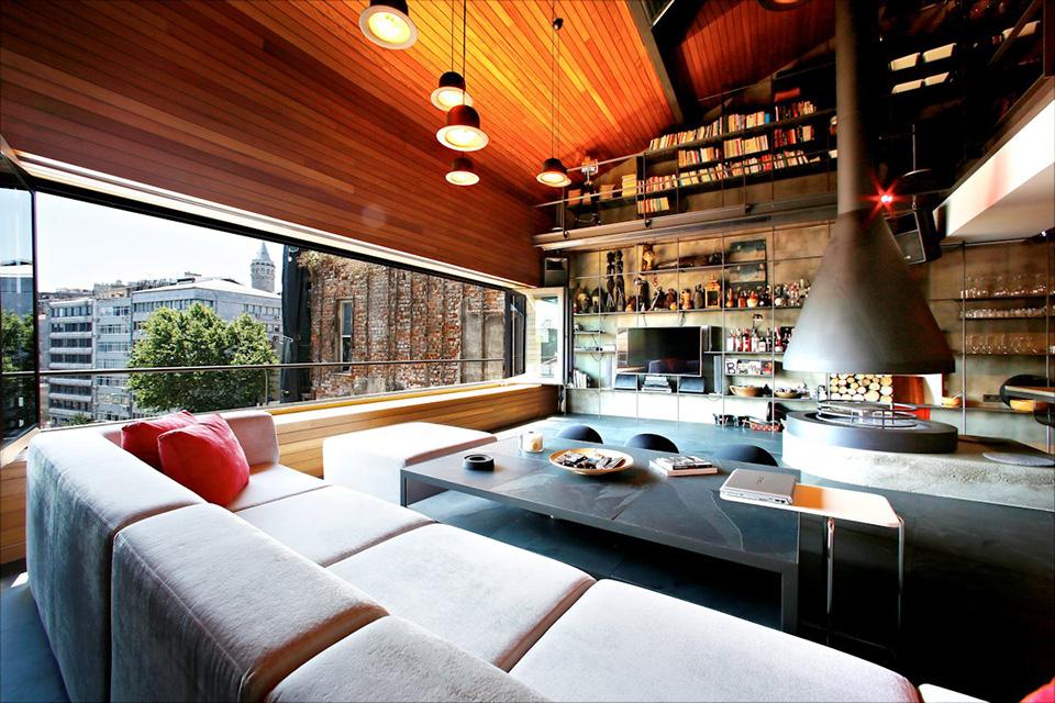 contemporary rustic karakoy loft overlooks modern istanbul. Black Bedroom Furniture Sets. Home Design Ideas