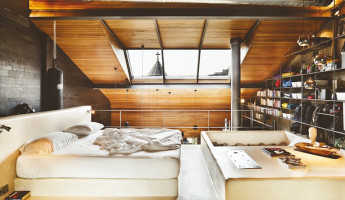 Contemporary-Rustic Karakoy Loft Overlooks Modern Istanbul 10