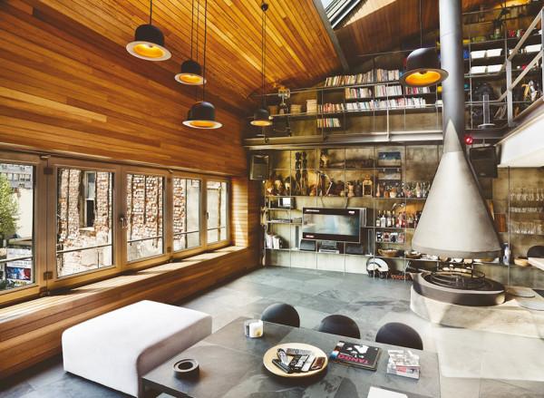 Contemporary-Rustic Karakoy Loft Overlooks Modern Istanbul 2