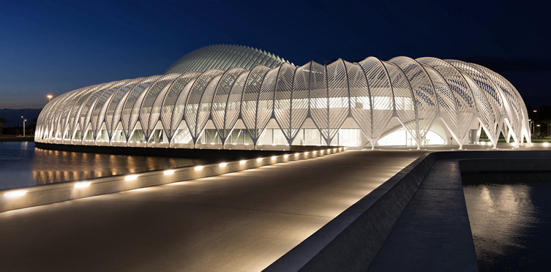 Florida Polytechnic University by Santiago Calatrava - twilight approach