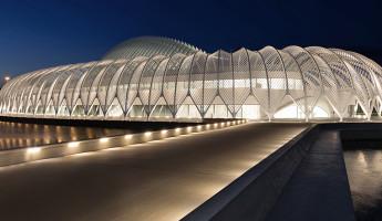 Florida Polytechnic University by Santiago Calatrava - twilight approach