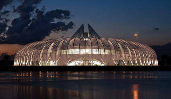 Florida Polytechnic University by Santiago Calatrava - twilight south entrance