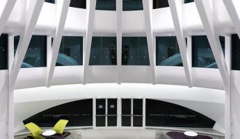 Florida Polytechnic University by Santiago Calatrava - south entrance at night