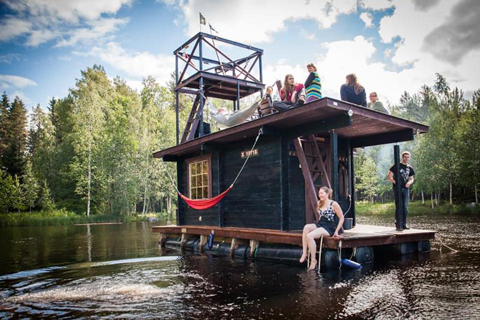 Saunalautta Floating Sauna Houseboat Is A Cruise Worthy