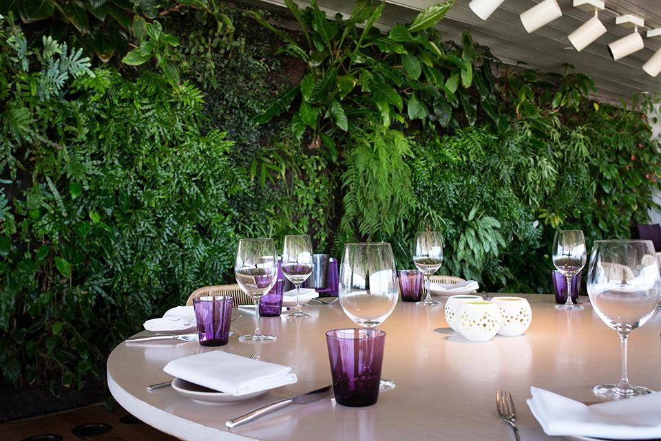 Juvia-Miami—Interior-Tableware-and-Green-WAll