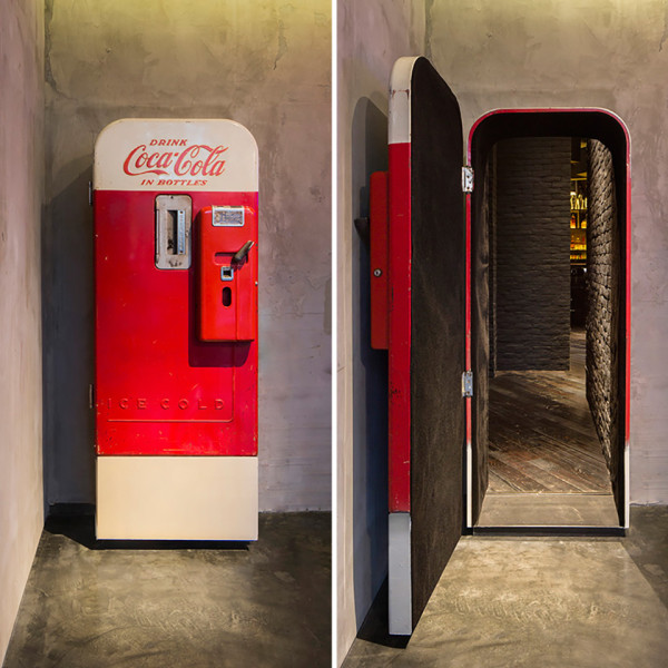 Flask Speakeasy by Alberto Caiola 7 600x600 This Secret Speakeasy Hides Behind a Coca Cola Vending Machine Door