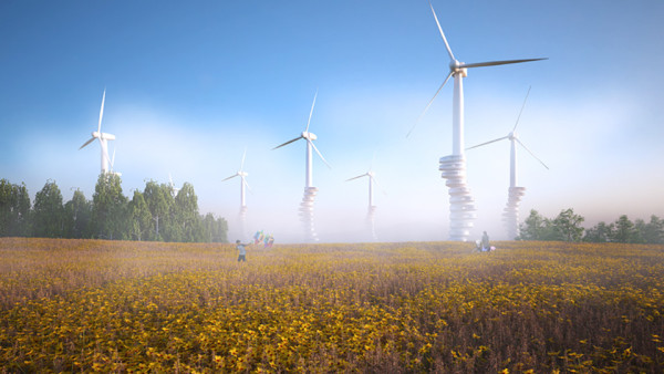 Goetz Schrader Wind Pecker Machines 4 600x338 A German Designer Has Imagined the Wind Turbine Residences of the Future