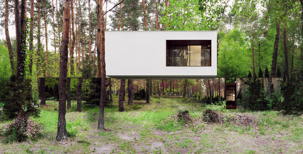 Mirror House by Reform Architekt Izablin House Marcin Tomaszewski 2 600x305 This Amazing Mirror House In The Forest Is An Illusion To Those Who Approach