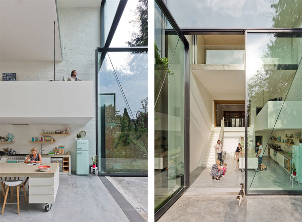 Townhouse in Antwerp by Sculp It 1 600x441 A Creative Architect Re Imagined This Townhouse into a Tower of Glass