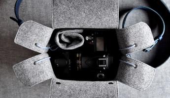 Hard Graft Box Camera Bag in Ocean Blue and Gray Wool Felt 1