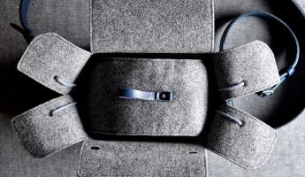 Hard Graft Box Camera Bag in Ocean Blue and Gray Wool Felt 10