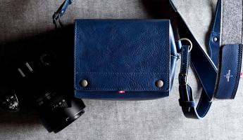 Hard Graft Box Camera Bag in Ocean Blue and Gray Wool Felt 12