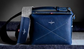 Hard Graft Box Camera Bag in Ocean Blue and Gray Wool Felt 13