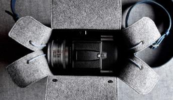 Hard Graft Box Camera Bag in Ocean Blue and Gray Wool Felt 14
