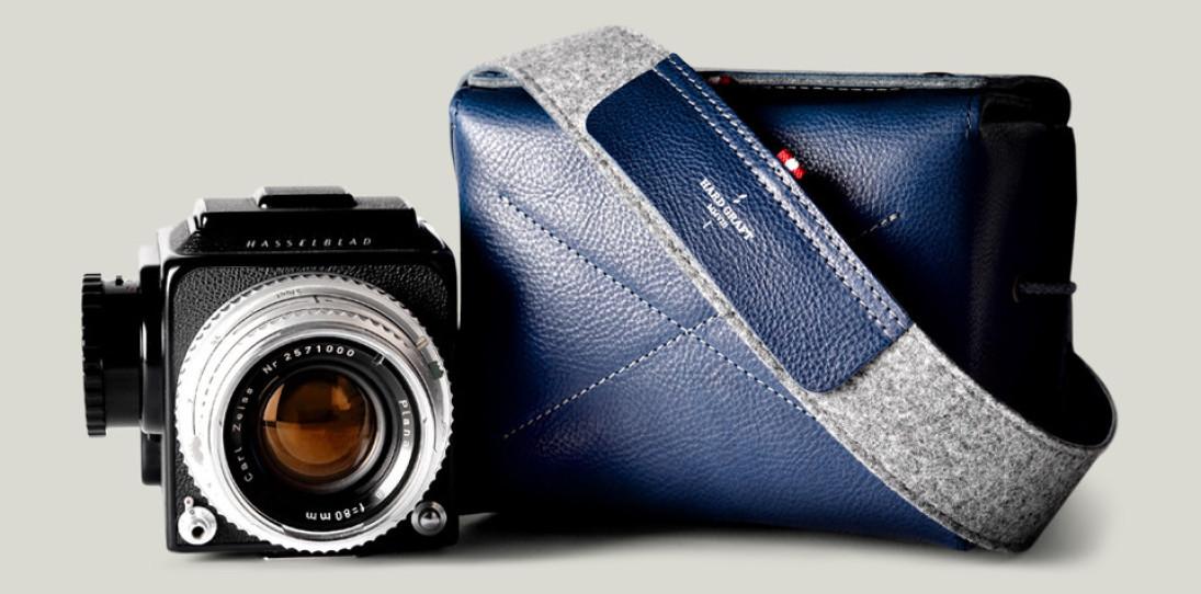 Hard Graft Box Camera Bag in Ocean Blue and Gray Wool Felt 15