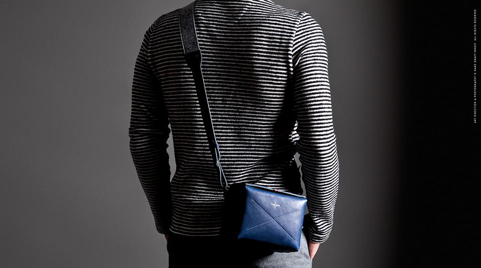 Hard Graft Box Camera Bag in Ocean Blue and Gray Wool Felt 2