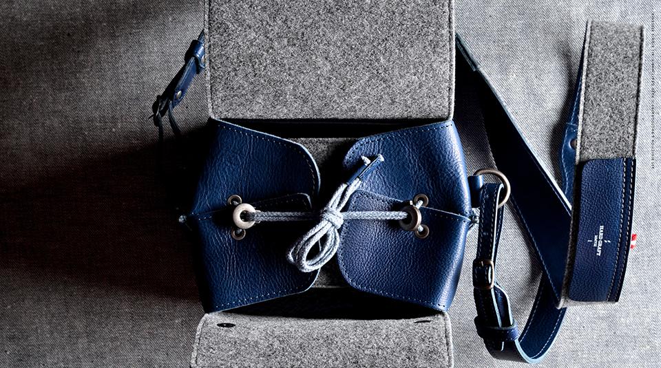 Hard Graft Box Camera Bag in Ocean Blue and Gray Wool Felt 3