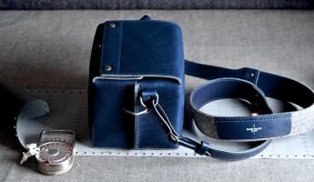 Hard Graft Box Camera Bag in Ocean Blue and Gray Wool Felt 6