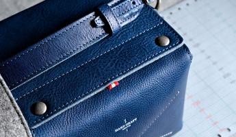 Hard Graft Box Camera Bag in Ocean Blue and Gray Wool Felt 8