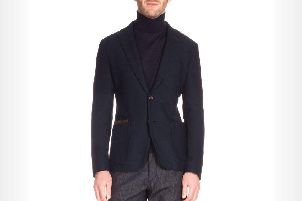 Berluti Knit Blazer with Leather Trim, Navy