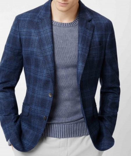 Hackett London Multi-Blue Plaid Blazer