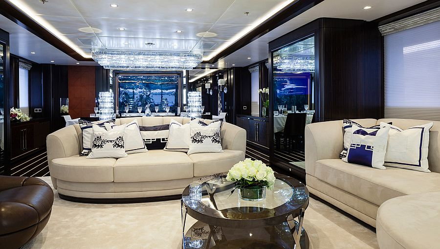 Main sallon inside the superyacht Ann G by Hessen