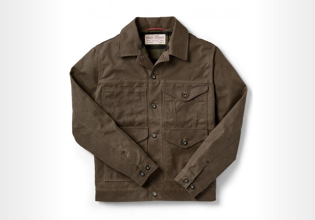 Filson Lined Short Cruiser - brown waxed canvas jacket