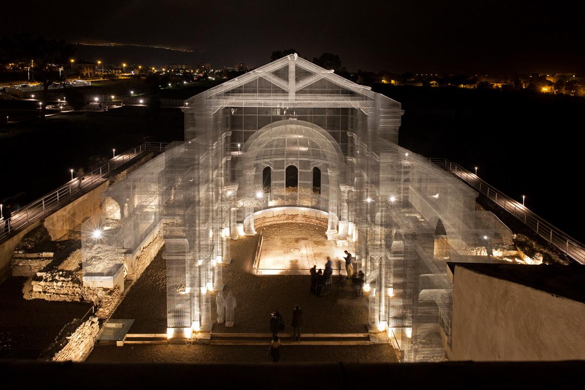 'Basilica di Siponto' by Edoardo Tresoldi – wire sculpture