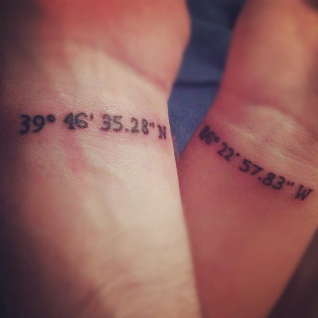 Latitude and Logitude Couples Tattoo