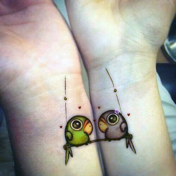 Love Birds couples tattoo Celebrate Everlasting Love With These 21 Remarkable Couples Tattoos