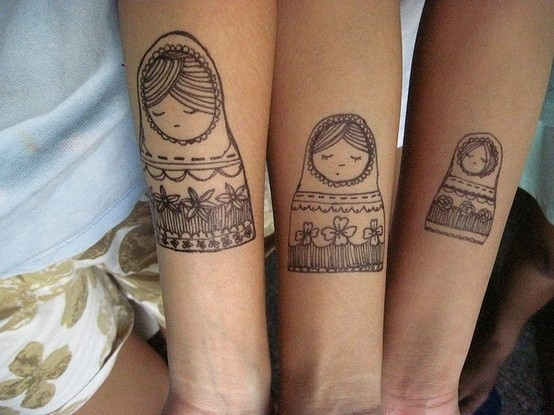 Russian Nesting Dolls - couples tattoo