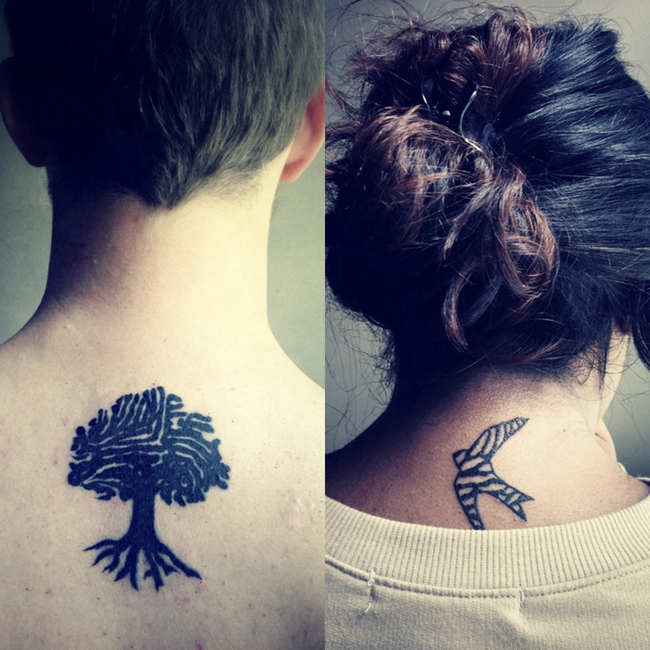 Tree and Bird Couples tattoo