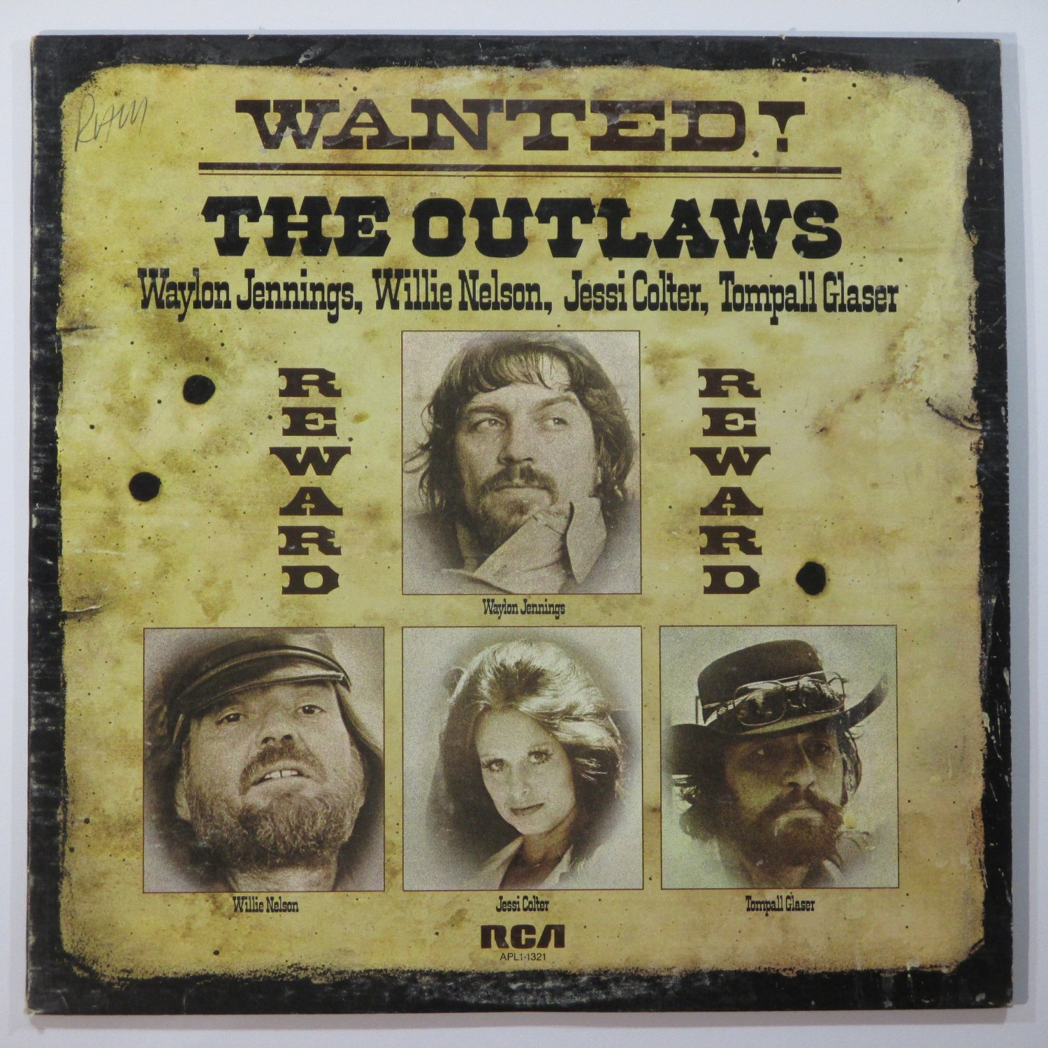Waylon Jennings, Jessi Colter, Willie Nelson and Tompall Glaser – Wanted! The Outlaws – album cover