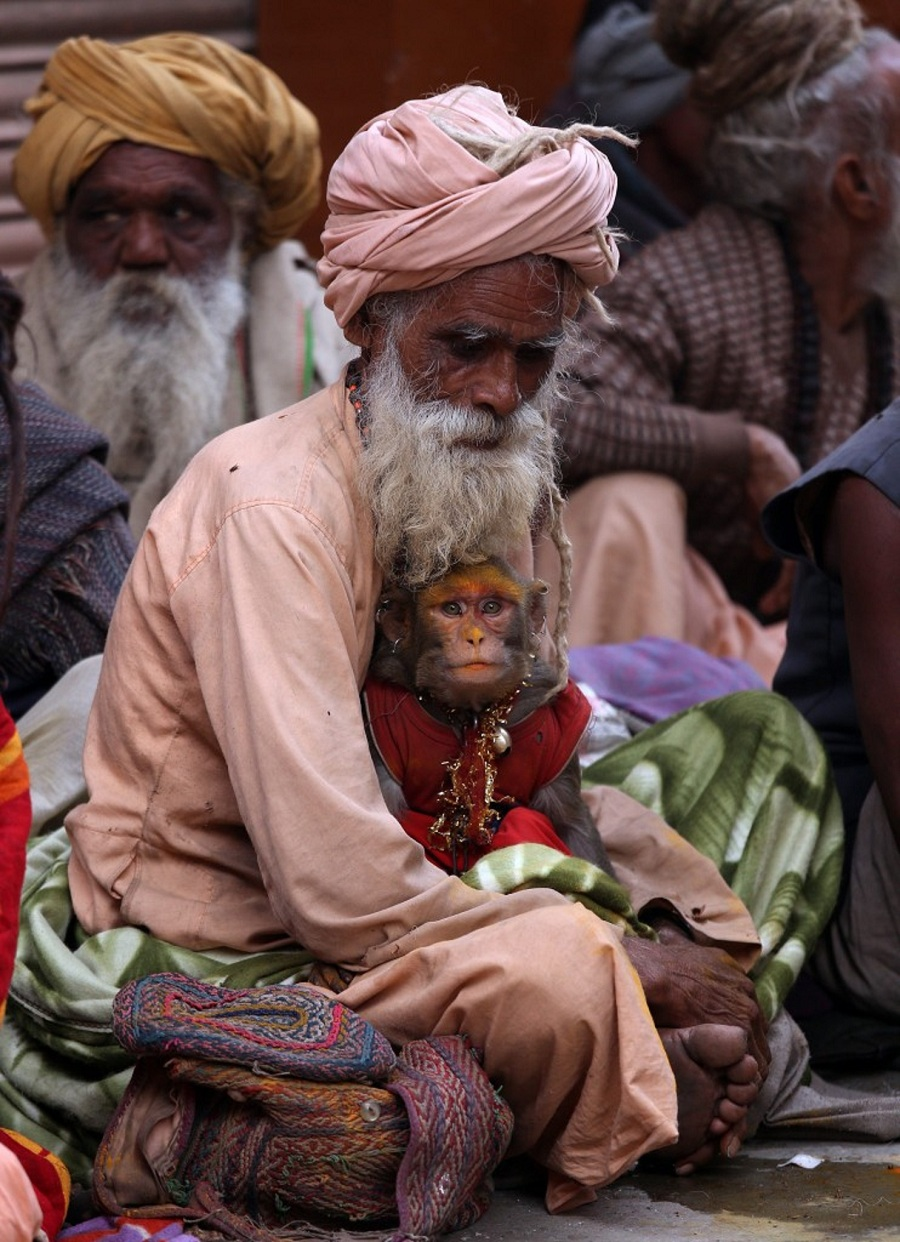 A sadhu and his monkey