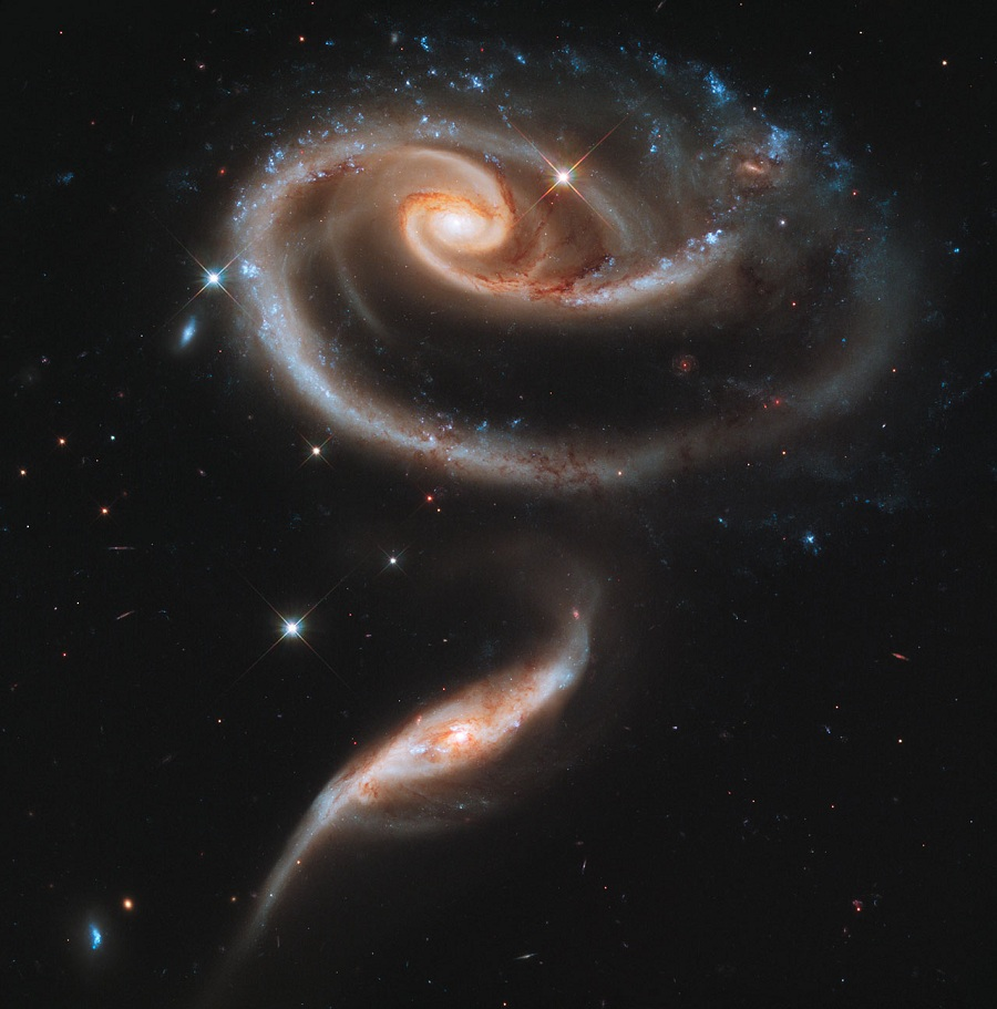 Arp 273: A pair of interacting galaxies.