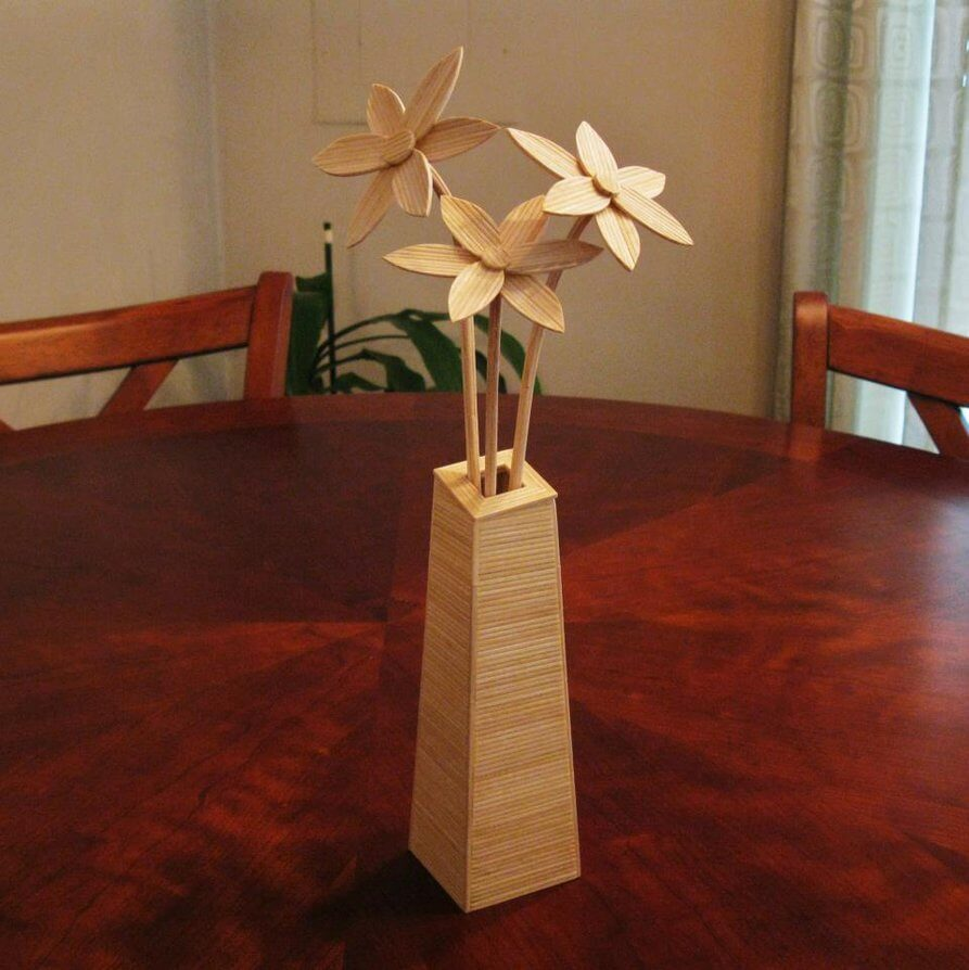 Flowers in Vase by Bob Morehead - toothpick sculpture