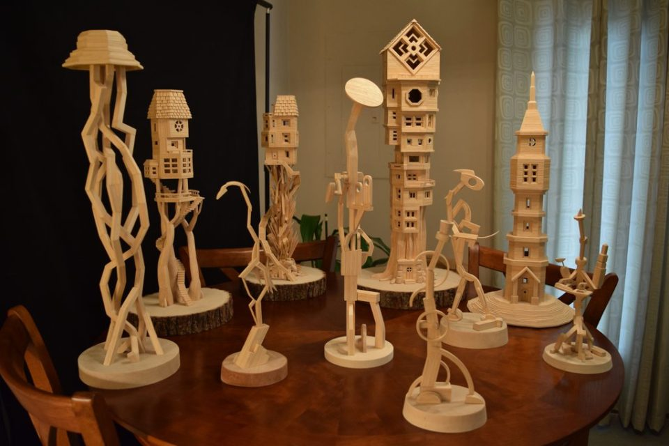 Freestanding Structures by Bob Morehead - toothpick sculptures