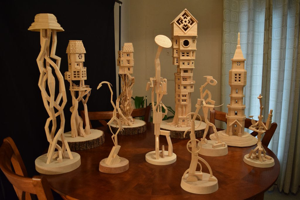 Freestanding Structures by Bob Morehead – toothpick sculptures