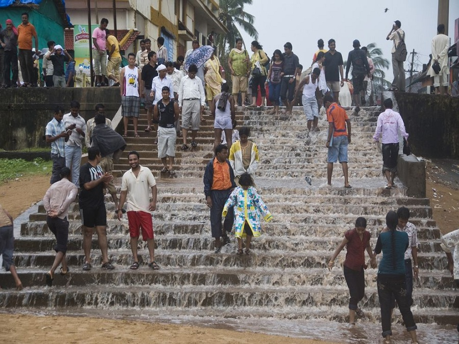 Heavy monsoon winds dumped inches of rain on these steps in Calangute, India, in only 15 minutes. National Geographic/Argo Pakkas.