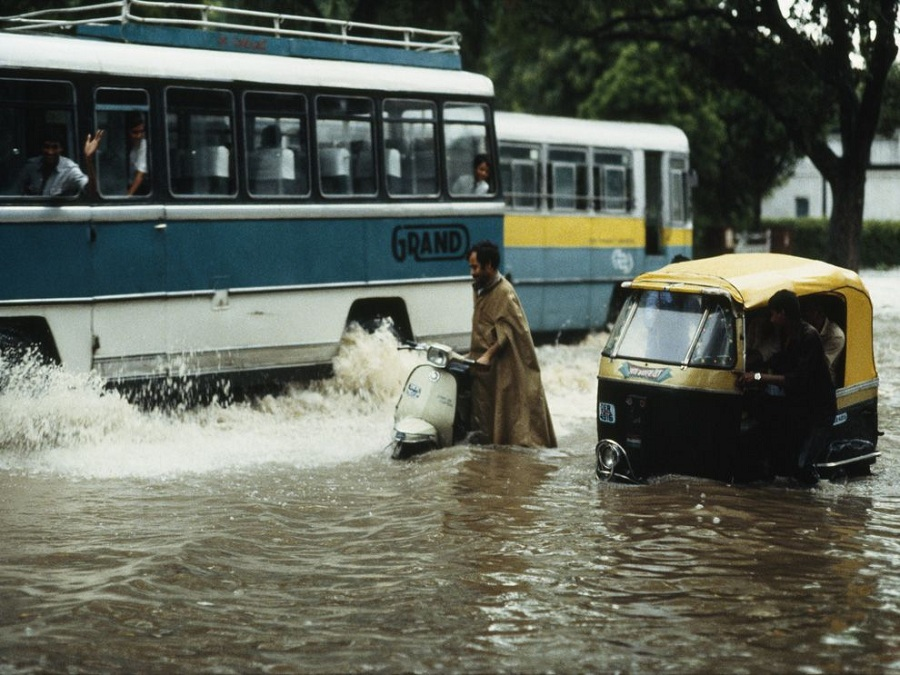 The monsoon season turns the streets of Delhi, capital of India, into canals. National Geographic/Steve Raymer.