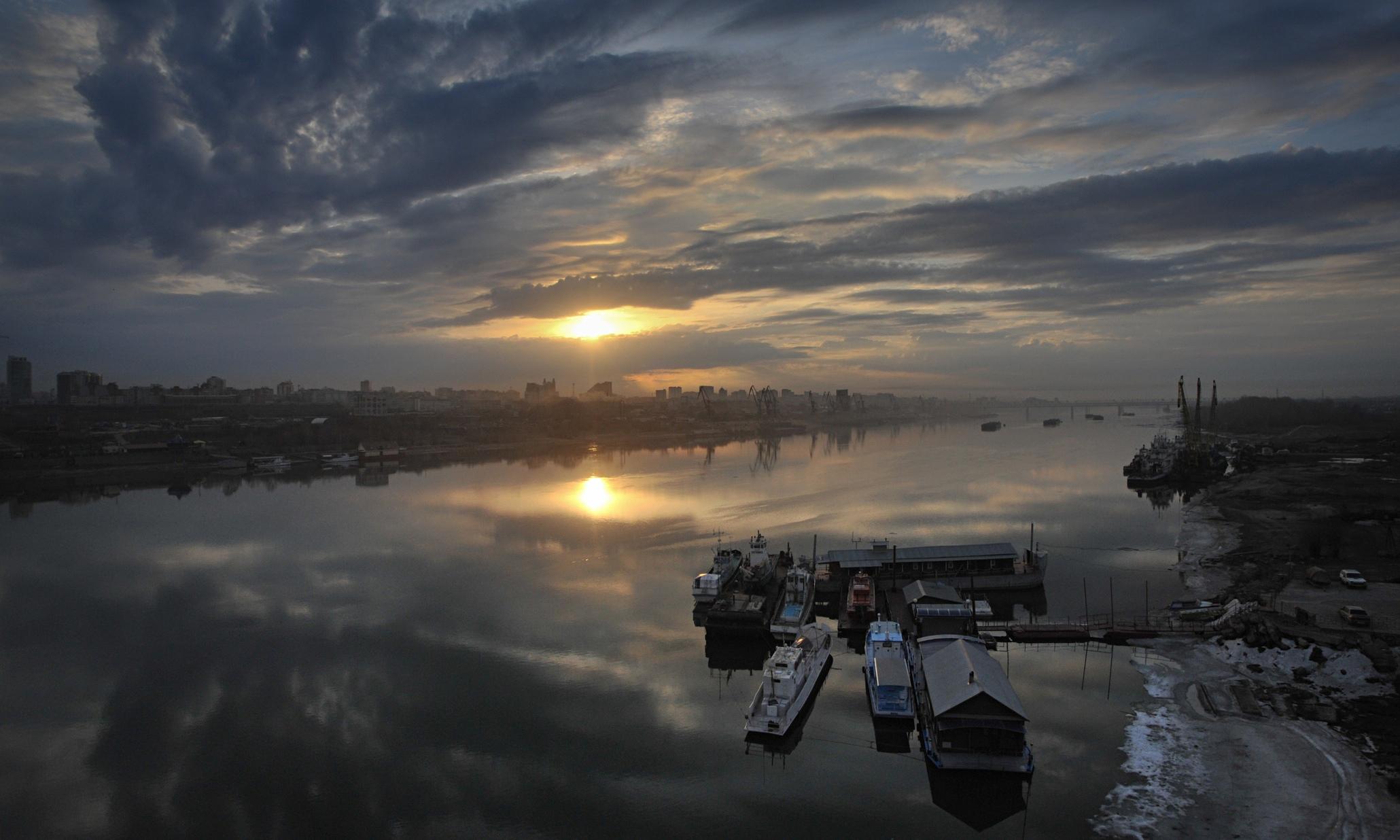 Sunrise over the Ob River near Novosibirsk, Siberia.